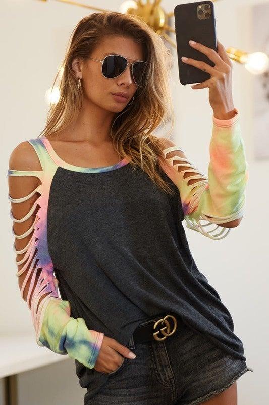 Charcoal & Tie Dye Jersey Knit Laser Cut Long Sleeve Top