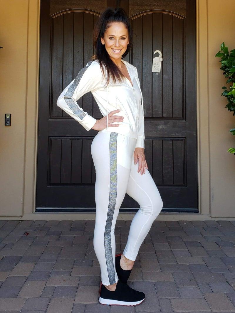 White & Silver Sparkle Stripe Jogger Set