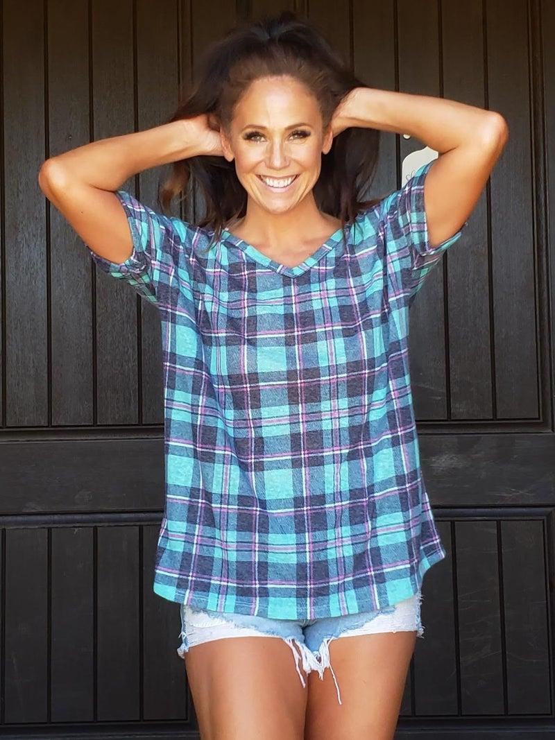 Mint Checkered Drop Shoulder Short Sleeve Tunic Top