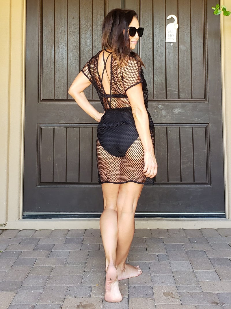 Black Fishnet Open Back Tie Front Swim Coverup *Final Sale*