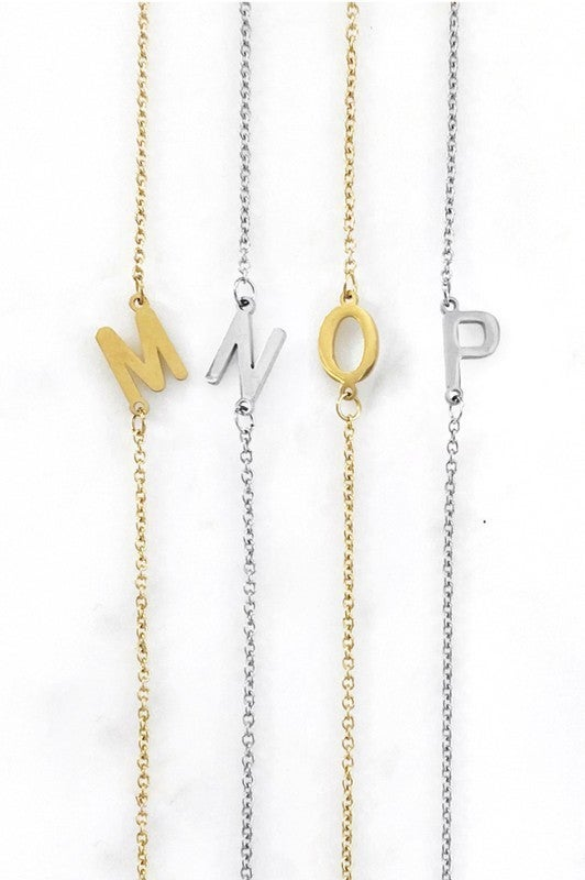 """Dainty Sideways Initial 16"""" Necklace"""