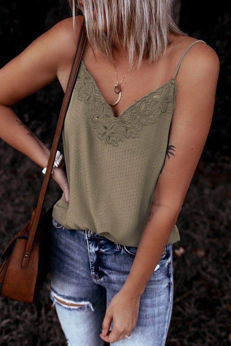 Crochet Lace V-Neck Slip Tank