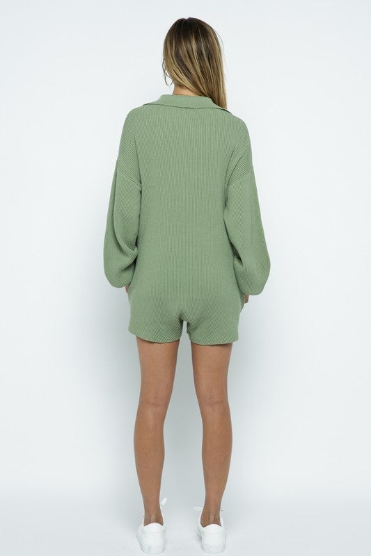 Ribbed Knit Effortless Dolman Sleeve Sweater Romper