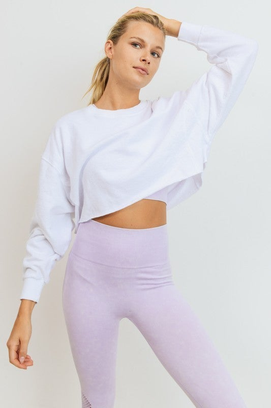 Cropped Jacquard Long Sleeve Mineral Wash Pullover