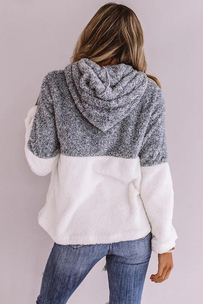 Grey & White Colorblock Cuddly Sherpa Kangaroo Pocket Hoodie