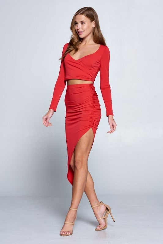 Red Long Sleeve Rouched Side High Slit Asymmetrical Wrap Top & Skirt Set