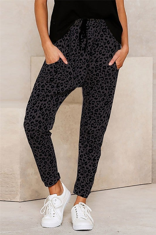 Leopard Drop Crotch Tapered Joggers with POCKETS