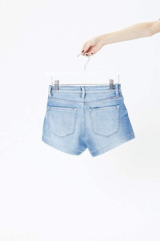 KanCan Mid Rise 3 Button Finished Hem Denim Shorts