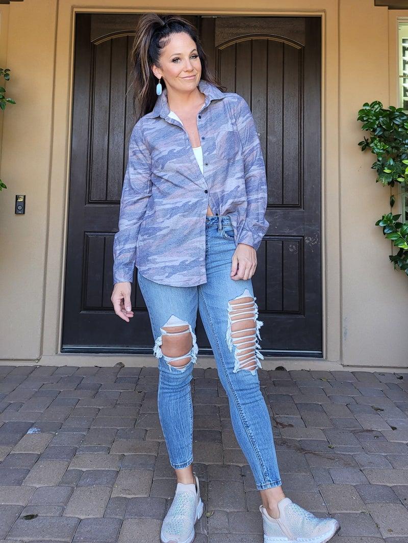 Camo Fleece Lined Button Down Shirt