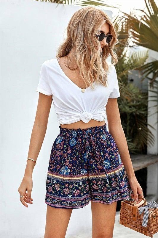 Boho Floral A-Line Elastic Waist Shorts