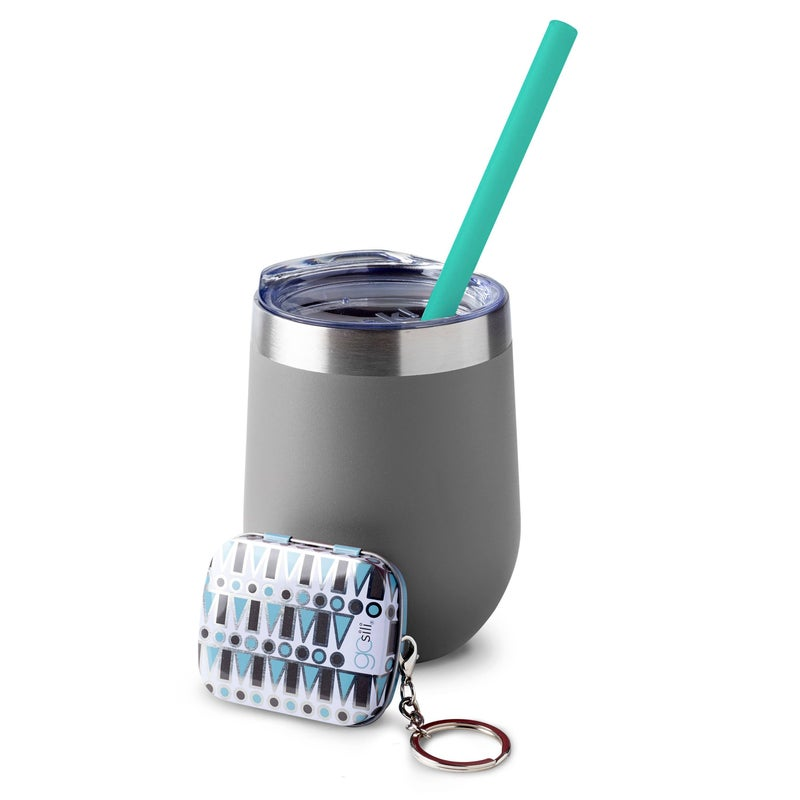 Reusable Silicone On-The-Go Straw & Keychain Case