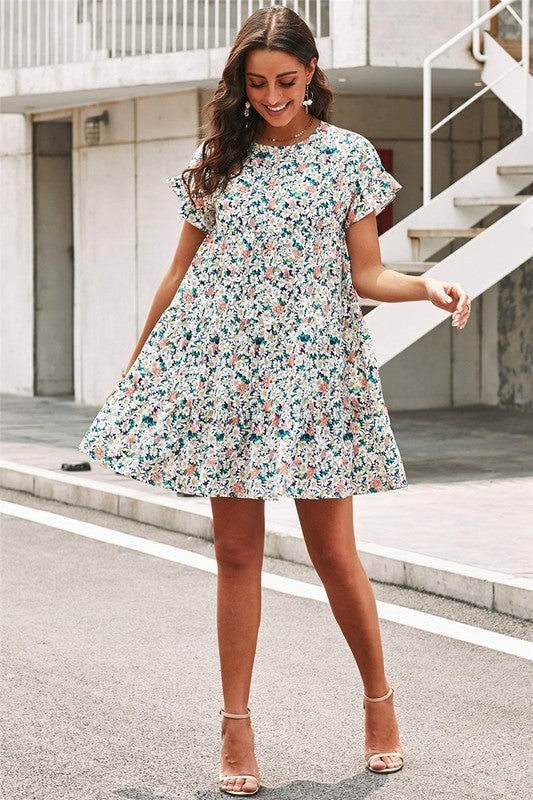 Floral Tiered Ruffle Shllve Drop Waist Gathered Babydoll Dress