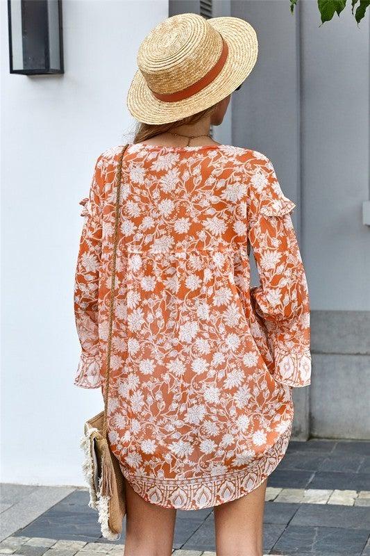 Orange Floral Boho Print Free Flow Tunic