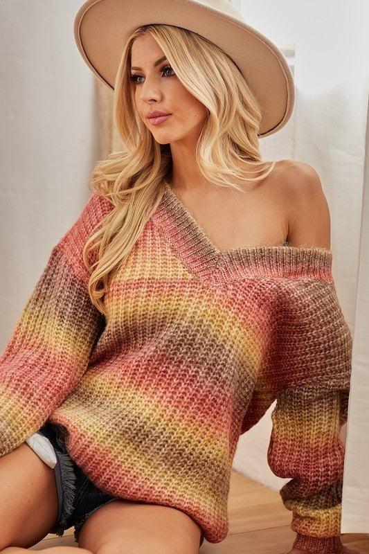 Rust Tie Dye V Neck Oversized Sweater