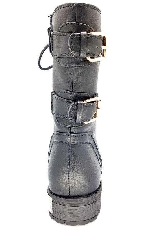 Black Lace Up Gold Zipper & Double Buckle Combat Boots