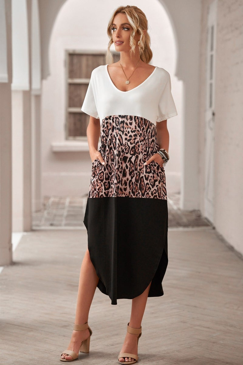 White Leopard & Black Colorblock Cotton Blend Casual Maxi T-Shirt Dress with POCKETS