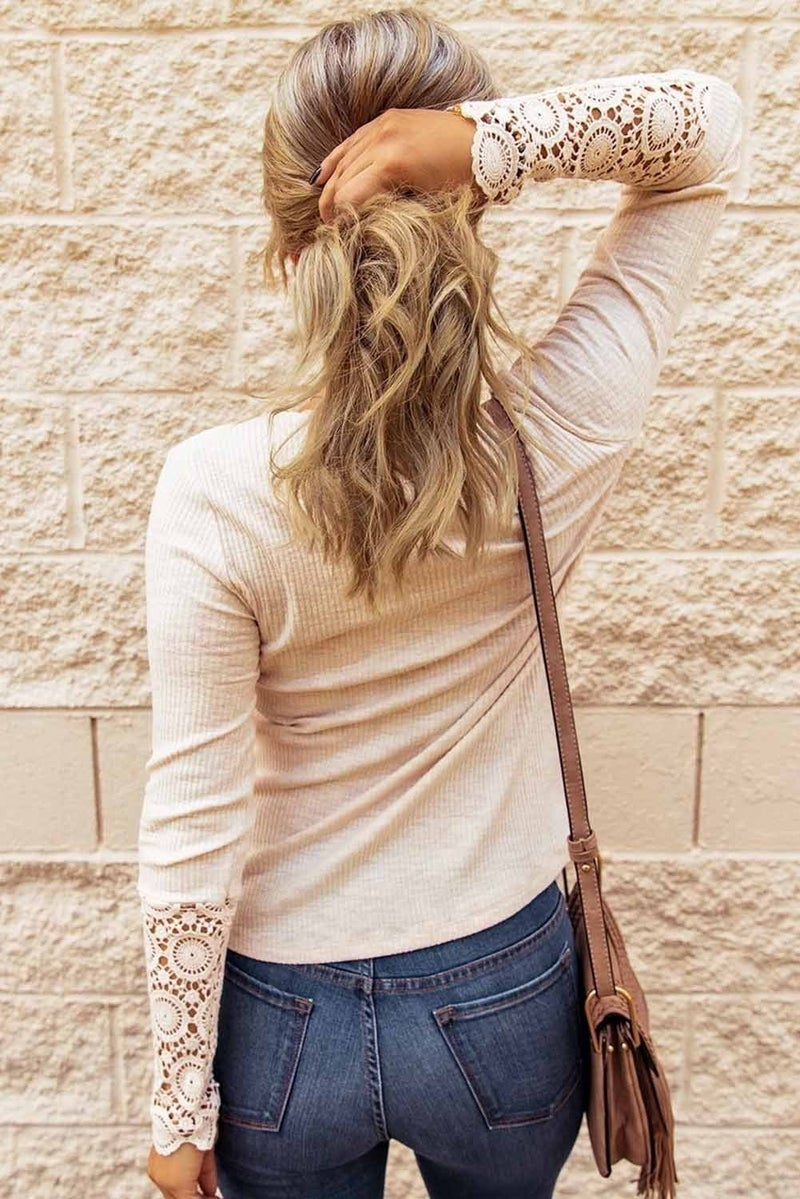 Beige Crochet Lace Sleeve Button Thermal Knit Top