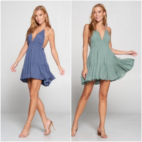 Rayon Halter Deep V Low Back Tiered Ruffle Dress