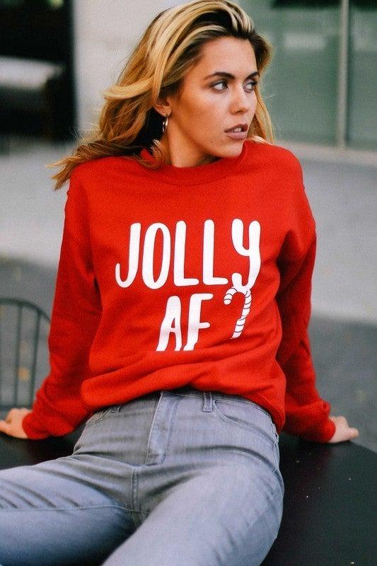 Red JOLLY AF Premium Cotton Unisex Fit Sweatshirt