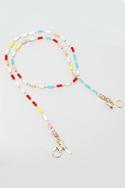 Rectangular Stong & Gold Clasp Beaded Mask/Sunglasses Chain