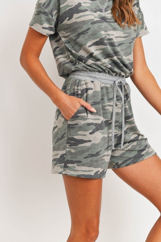 Camo French Terry Short Sleeve Drawstring Pocket Knit Romper