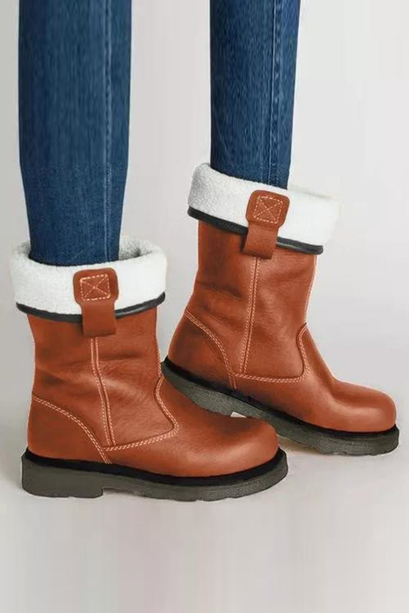 Faux Leather Flat Bottom Fold Over Snow Boots