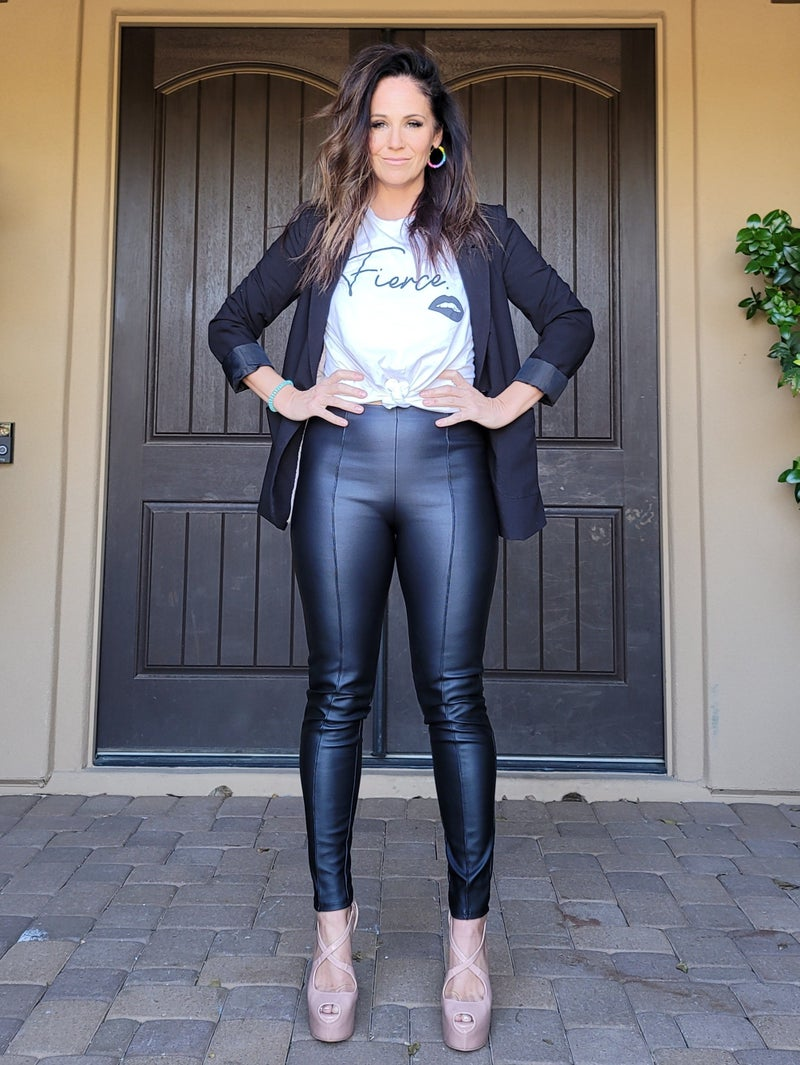 Faux Leather High Waisted Pintuck Front Skinny Pants