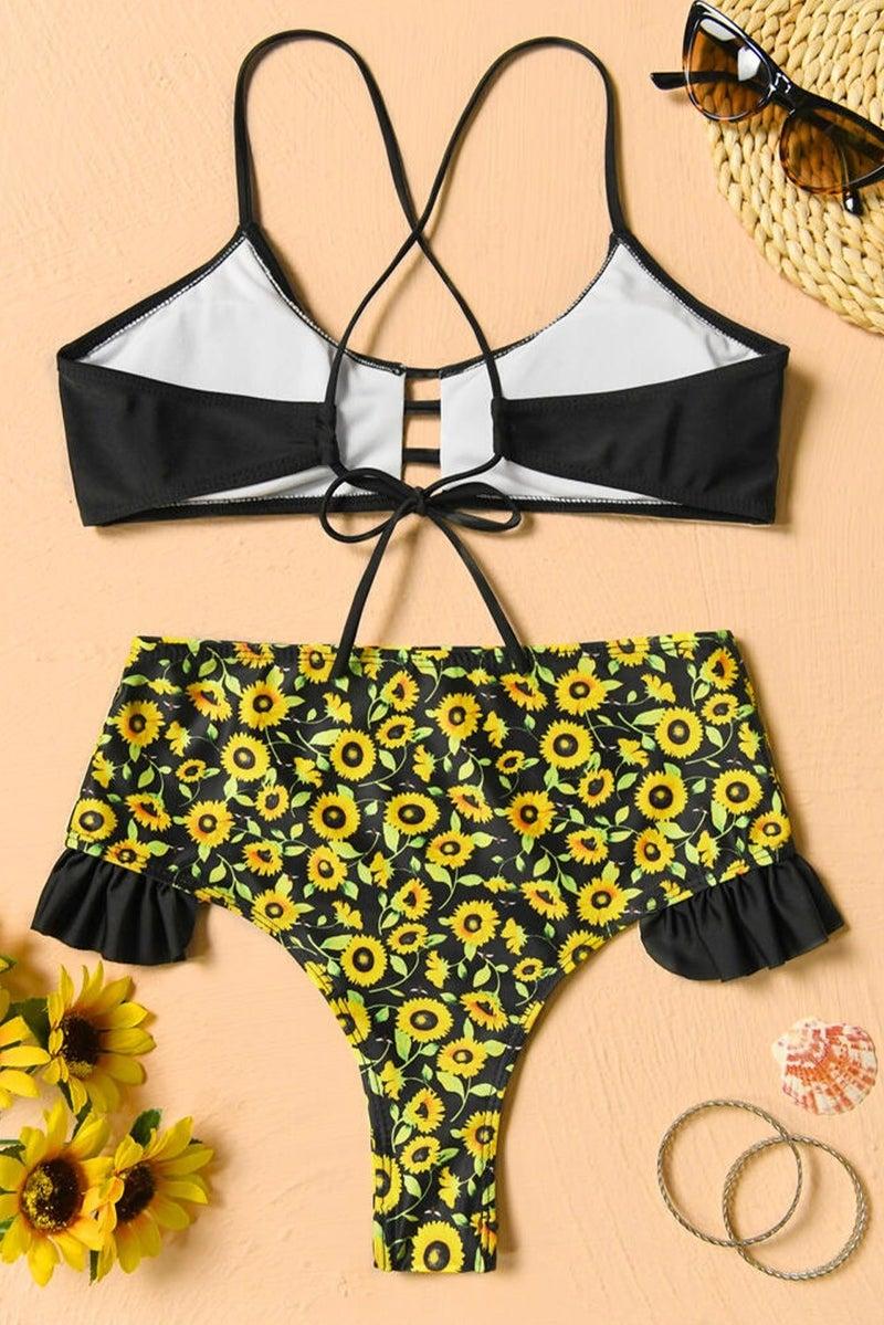 Sunflower Strappy High Rise Ruffled CHEEKY Bikini