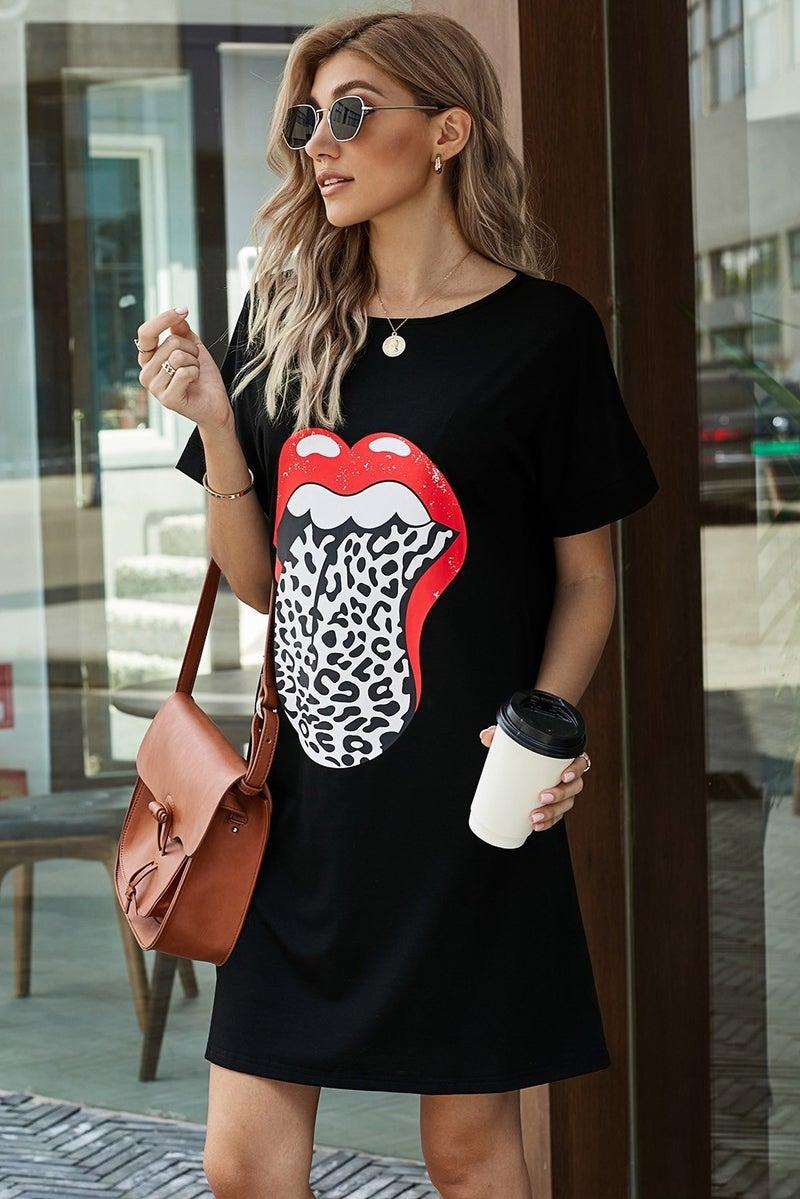 Leopard Tongue Casual Mini Tee Shirt Dress