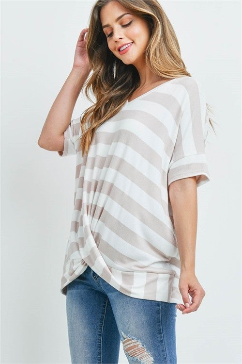 Taupe & White Stripe V-Neck Dolman Sleeve Twisted Front Relax Fit Top