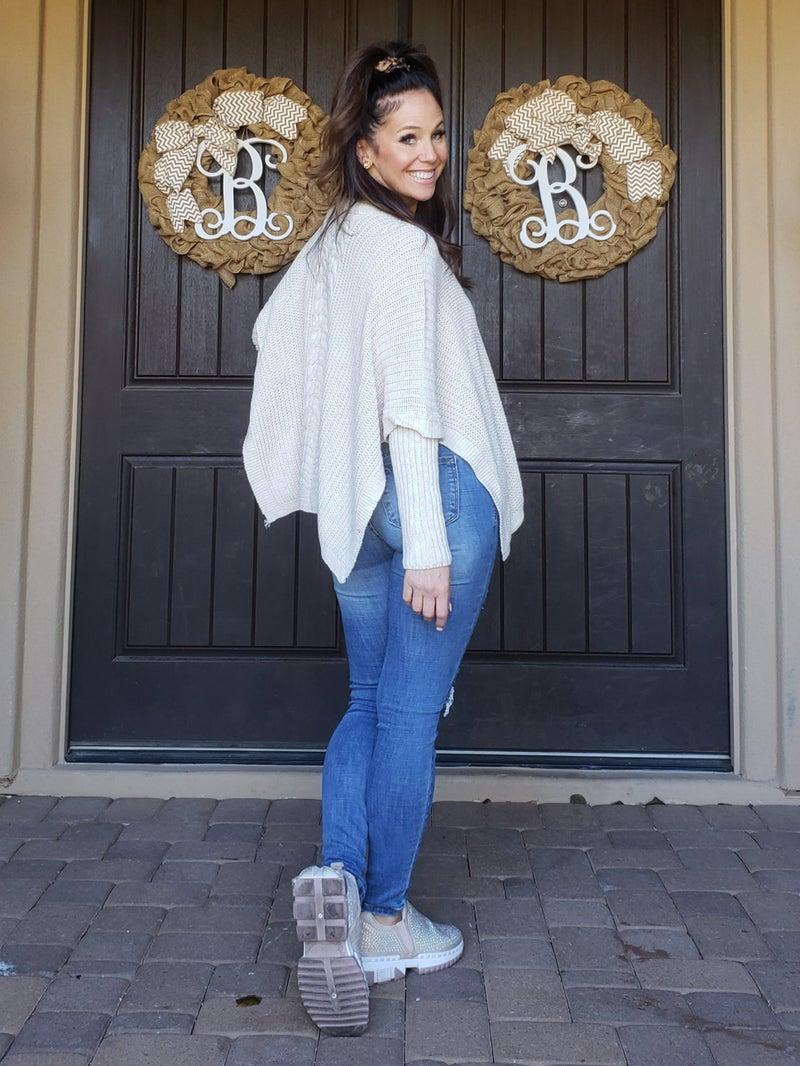 Beige Crochet Long Sleeve Poncho Sweater