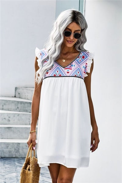 White BOHO Flutter Sleeveless Babydoll Dress