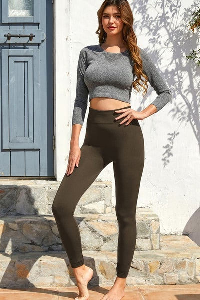 Seamless Fleece Lined Full Length High Waisted Leggings