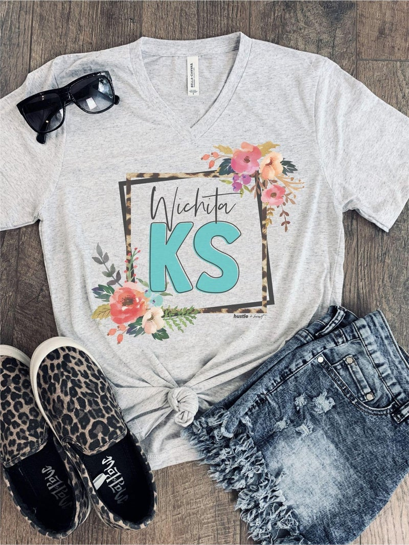 White Fleck Vintage Leopard Floral City/State Tee's