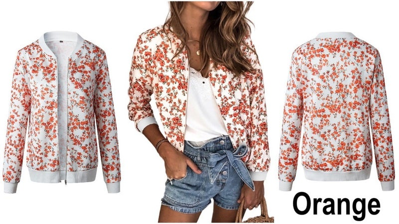 Floral Lightweight Full Zip Bomber Jacket