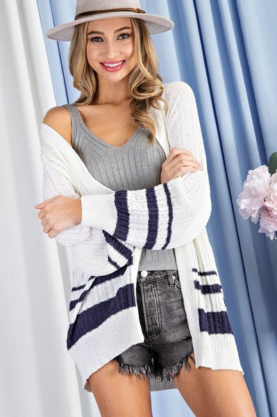 White & Navy Stripe Lightweight Spring Open Front Cardigan