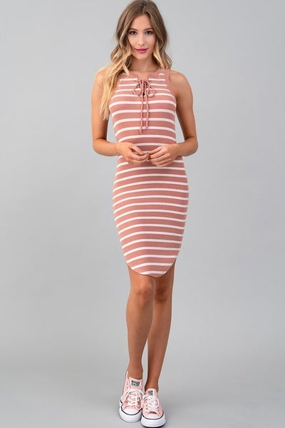Mauve Stripe Sleeveless Tie Front Round Hem Sporty Dress