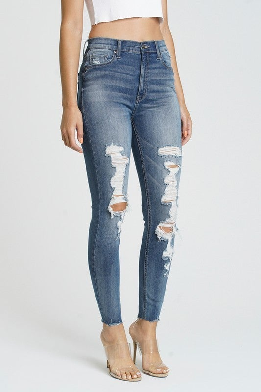 Medium Wash Super High Rise Threadbare Shredded Knee Raw Cut Hem Ankle Skinny Jeans