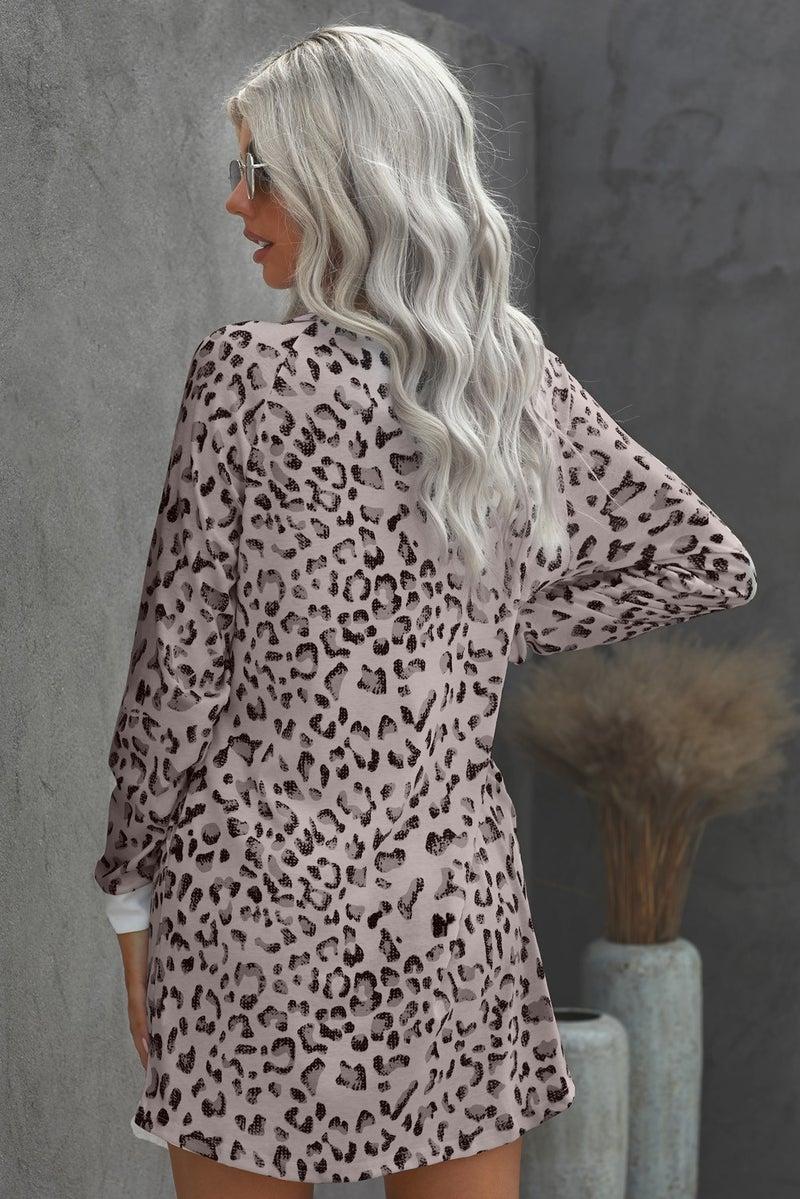 Leopard Long Sleeve Pocket Mini Dress