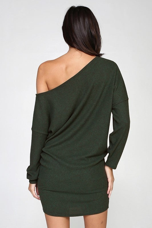 One Shoulder Long Sleeve Slouchy Ribbed Knit Dress