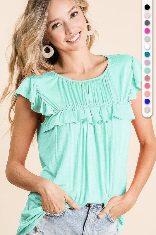 Mint Jersey Knit Gathered Ruffle Cap Sleeve Top