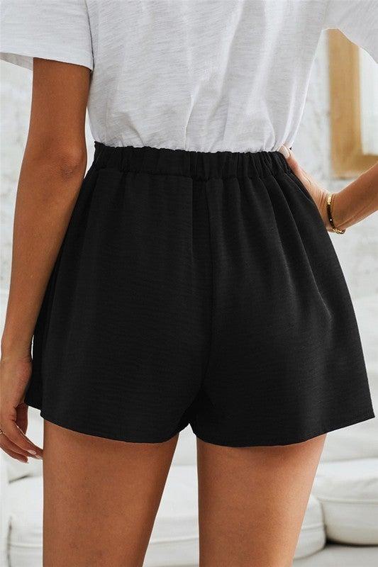 Chic Wrap & Tie Style Elastic Waist Shorts