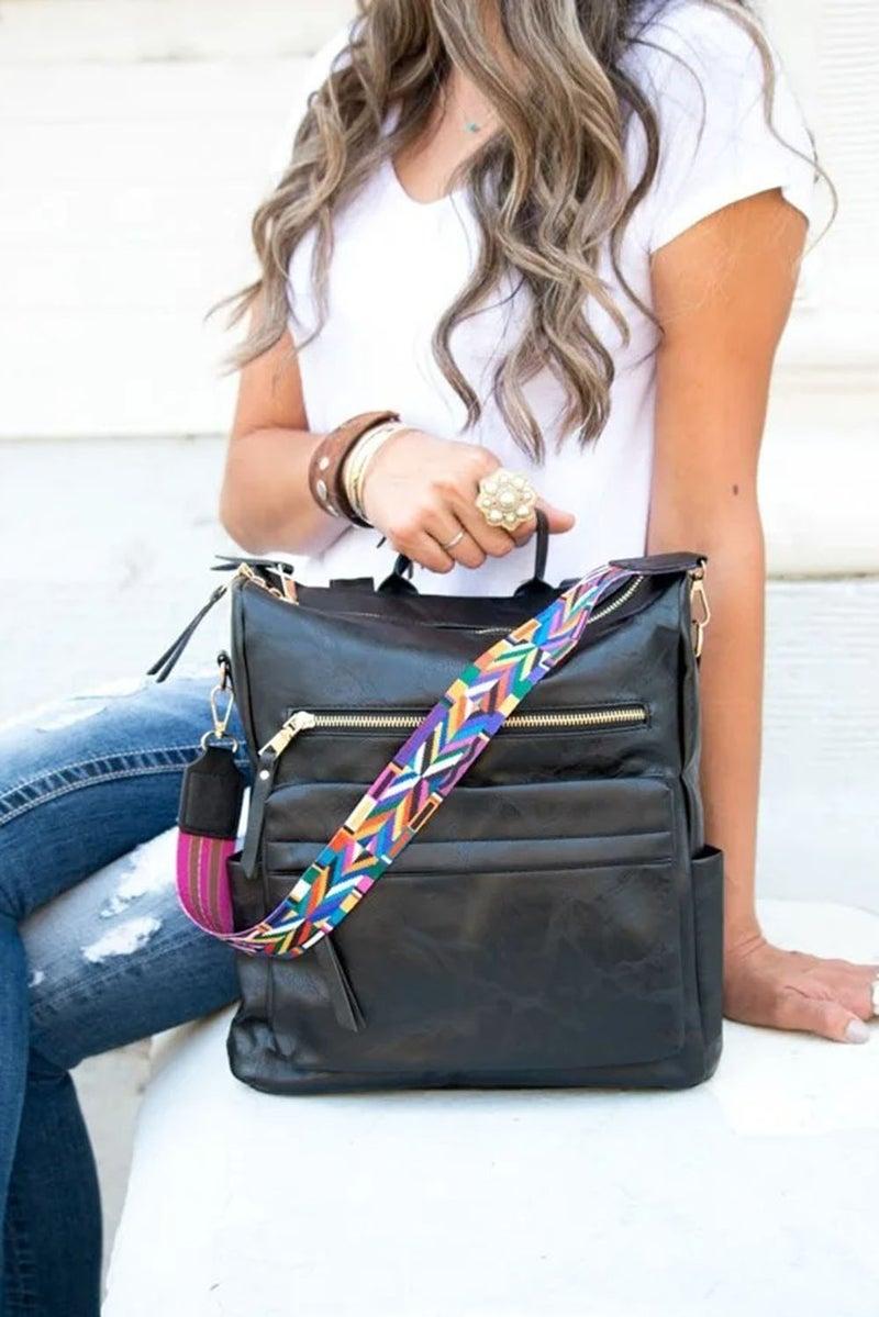 Faux Leather Mulitcolor Tribal Print Shoulder Strap Backpack