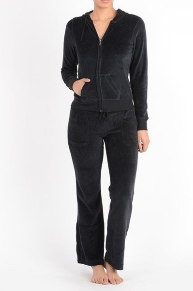 Black Velour Zip Up Hoodie and Pants Track Suite Set