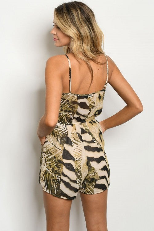 Sand Olive Leaf & Animal Print V Neck Romper with POCKETS