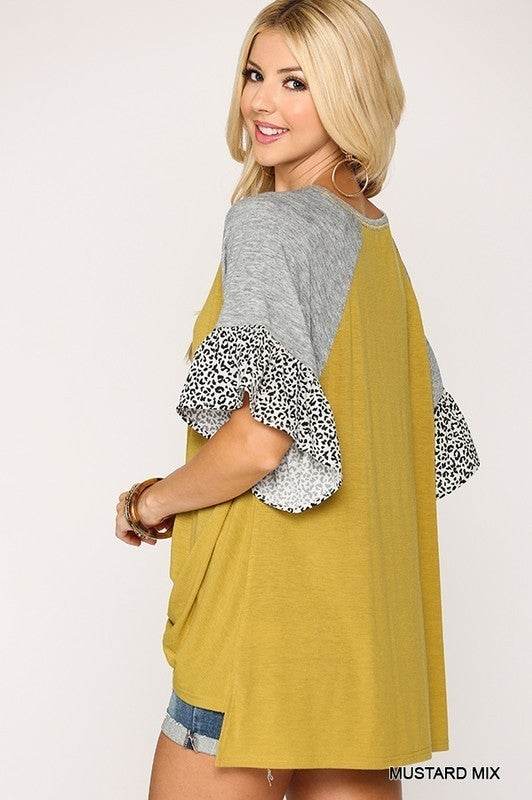 Mixed Mustard Leopard Ruffle Sleeve Oversized Twisted Top