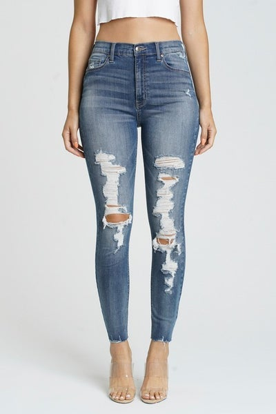 Medium Wash Super High-Rise Shredded Knee  Ankle Skinnies