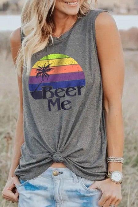 BEER ME Rainbow Sunset Sleeveless Tank
