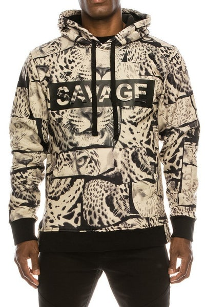 Tan Mens SAVAGE Leopard Fleece Pullover Hoodie