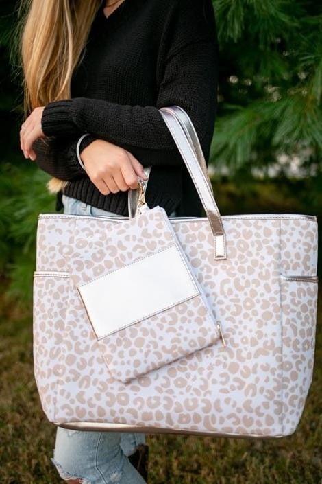 Neutral Leopard Tote Bag and Wristlet Set
